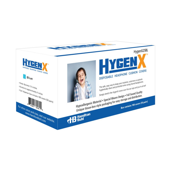 Hygieneschutz fuer Kopfhoerer bis 6 cm blau Spenderbox